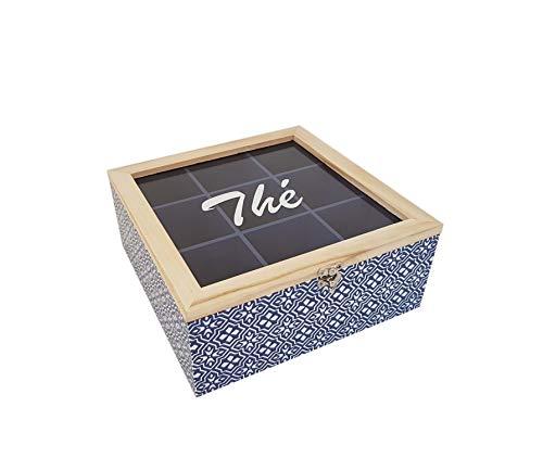 Boîte à Thé Azulejo en Bois avec 9 Compartiments