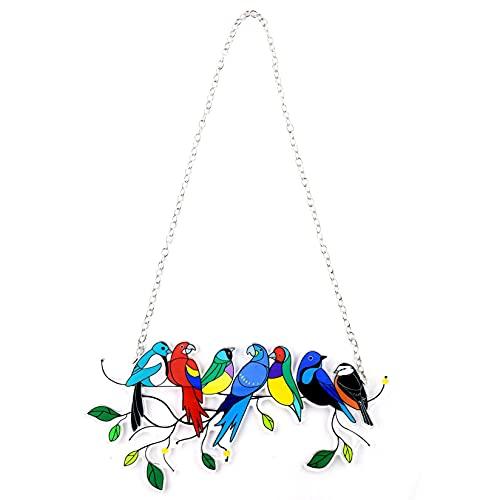 Exotischer Papagei auf einem Draht, Buntglas Suncatcher Fenster hängende Platte, Bird Series Ornamente Anhänger Wohnkultur, Geschenke für Vogelliebhabe (C)