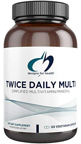 Designs for Health Twice Daily Multi - Iron-Free Adult Multivitamin Supplement with Active Folate Quatrefolic+ Chelated Minerals - Vitamins A, B6, C, D, E, and K, Riboflavin, Thiamin (120 Capsules)