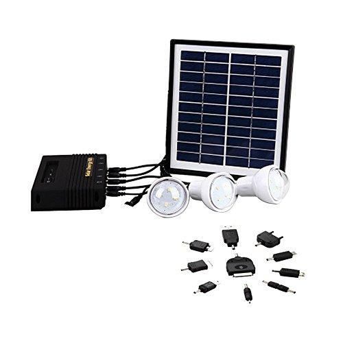 Katomi Super luminosi luci ad alimentazione solare con luci a LED a energia solare portatile, per esterni, ricarica a energia solare, i sistemi home