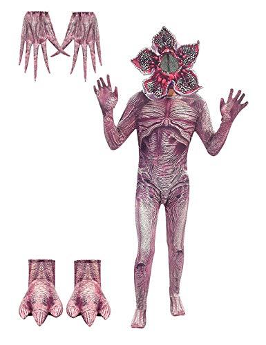 Disfraz Stranger Things Demogorgon, Halloween Flor Caníbal Cosplay Set Adultos Disfraz de Terror Stranger Things Costume Monos Traje con Máscara para Niña y Niño