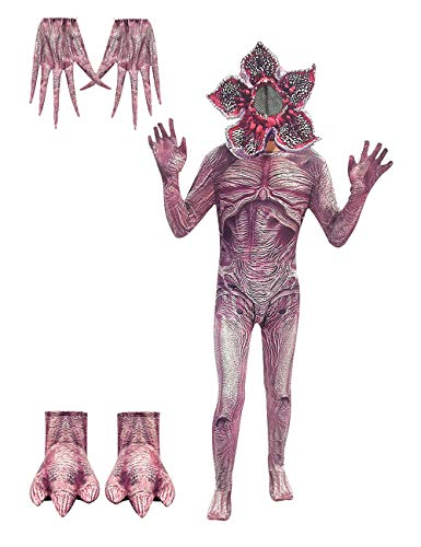 Disfraz Stranger Things Demogorgon, Halloween Flor Caníbal Cosplay Set Adultos Disfraz de Terror Stranger Things Costume Monos Traje con Máscara para Niña y Niño (Estilo 6,130)