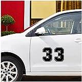 WYZDGTD Sticker de Carro by Etiqueta engomada Divertida del Vinilo del número 33 del Coche calcomanías Autoadhesivas para Las Decoraciones de la Ventana del Parachoques del Coche 2 uds 15X22 Cm