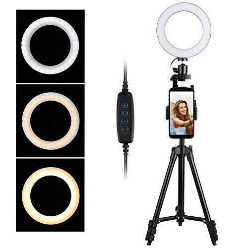 """Thlevel 6,2"""" Ring Light, Luce ad Anello LED con Treppiede e Supporto per Cellulare, 3 Modalità Colore e 10 Livelli di Luminosità per YouTube, Tik Tok, Trucco, Fotografia, Selfie"""