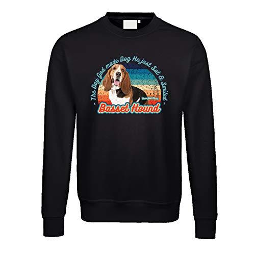 Gänseblümchendruck Hunde Pullover 02 Basset Hound Hush Puppy Dog Tiermotiv Rasse XL schwarz
