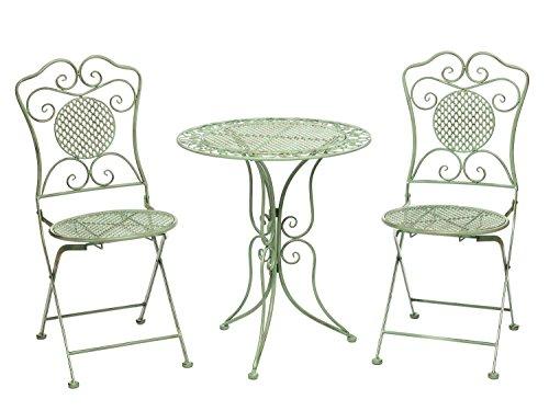 aubaho Gartentisch Gartenset und 2 Stühle Eisen Antik-Stil Gartenmöbel grün Bistroset