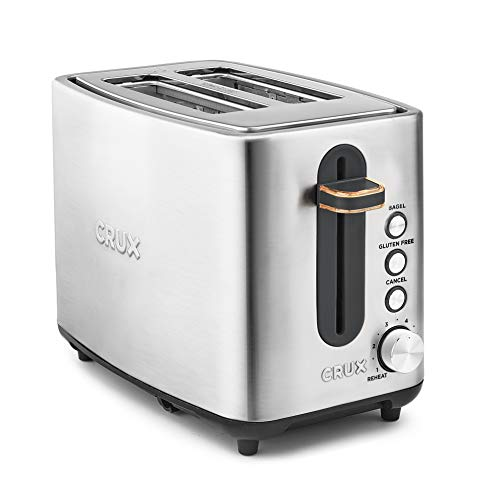 CRUX 2 Slice Stainless Steel Toaster, Extra Wide Slots, Quick & Precise 6-Setting Shade Control, Reheat, Bagel and Gluten Free Function, Slide-Out Crumb Tray for Easy Clean Up, Silver/Copper Accents