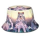 Sombrero de Pescador Hatsune-Miku para niña de Anime, Sombrero para el Sol, protección Transpirable Ultravioleta, Gorra de ala Ancha para Exteriores-XIZ