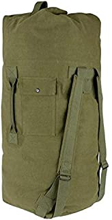 Farm Blue Rugged Two Strap Duffle Bag - Heavy Duty L Duffel Bags For Men, Women & Kids - Large Cotton Canvas Overnight Travel Duffles - Army Grade Luggage Dufflebag For Camping - 21