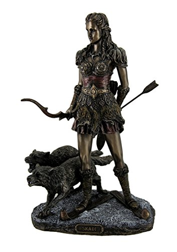 Resin Statues Skadi Norse Giantess Ski Goddess Of Winter And Mountains With Wolves Statue 8 X 10.5 X 7 Inches Bronze