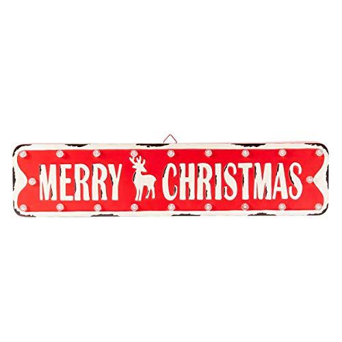 Pureday Weihnachtsdeko - LED Wanddeko X-Mas-Schild - Metallschild - Beleuchtet - Breite ca. 66 cm