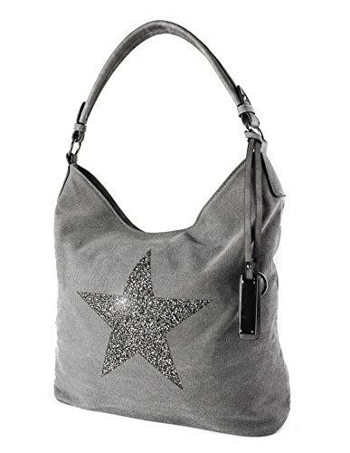 Redfox Sparking Rhinestone Embellished Star Canvas Shoulder Bag/Tote Shopper Large Size 35x30x14 cm