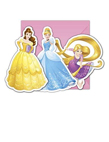 Generique - 6 Einladungskarten + Umschläge Disney Prinzessin