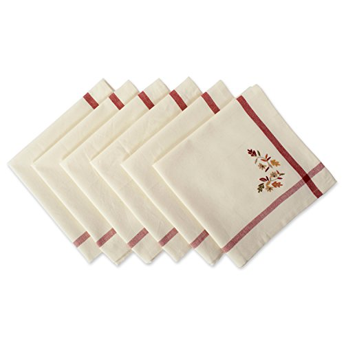 "DII Oversized 20x20"" Cotton Napkin, Pack of 6, Cream with Embroidered Autumn Leaves - Perfect for Thanksgiving, Dinner Parties, Friendsgiving and Fall"