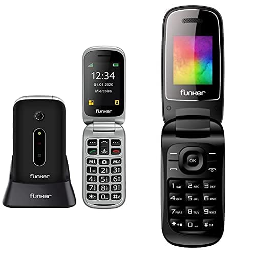 Funker C75 Easy Comfort - Teléfono Móvil con Tapa, Color Negro + F4 Classic Flip Telefono con Tapa, Teclas Cómodas Y Volumen Fuerte (Negro)