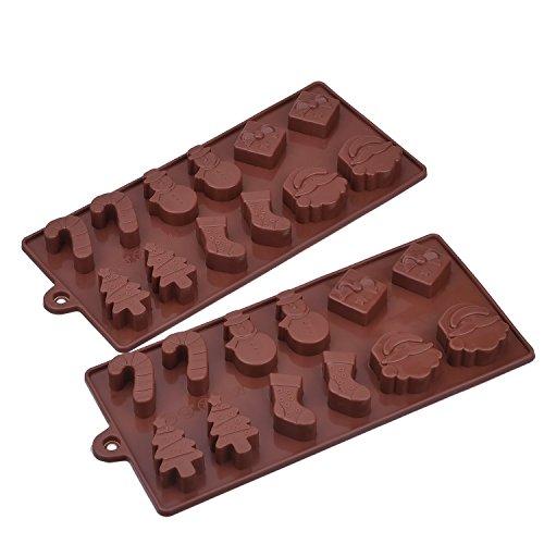 Natale Stampi in Silicone per Cioccolato, Torta Gelatina Vassoio di Ghiaccio, 2 Pacchi, Caffè