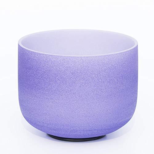 XIAOFEI 432 Hz Perfect Tibetan Singing Bowl Set Pitch F Heart Chakra 10 Inch (25 Cm) Frosted Quartz Crystal Sound Healing & Yoga Meditation,10 inch