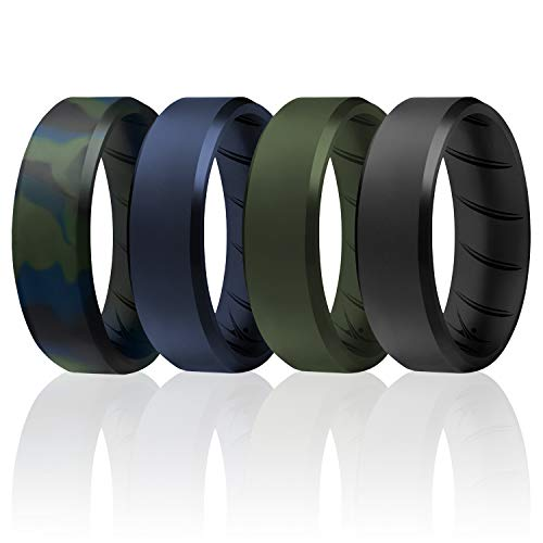 ROQ Silicone Rings, Breathable Silicone Rubber Wedding Ring Band for Men with Comfort-Fit Design, 8mm Beveled Edge, 4 Pack, Silicone Wedding Ring - Olive Blue Camo, Black, Blue, Green Colors - Size 9