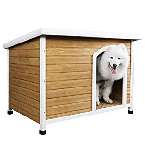 Petsfit Wooden Dog House for Medium to Large Dogs, Yellow and White, large/45.6″ x 30.9″ x 32.1″