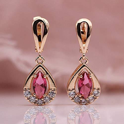 CHQSMZ Pendientes nuevos Pendientes Largos 585 Oro Rosa Ojo de Caballo circón Natural joyería de Moda para Mujer Pendientes Colgantes Huecos Rosa Rojo