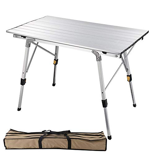 Yescom Portable Aluminum Folding Camping Table with Adjustable Leg Lightweight Roll Up Table for Outdoor BBQ Picnic Backyard Home
