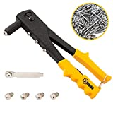 XINQIAO Rivet Gun Kit with 200 Pcs Rivets, Hand Riveter Set for Metal with 4 Tool-Free Interchangeable Heads