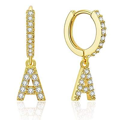 Ldurian Initial Dangle Hoops, Glitter Huggie Earrings, Tiny Charm Earrings, For Pierced Ears, 14K Gold Plated, Minimal Jewelry Women Men (with Letter A Charm)