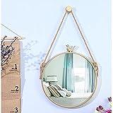 zcyg Espejo baño Espejos Pared Mirror Espejos De Pared, Espejo De Baño Dorado Nórdico con Cáñamo De Cáñamo Espejo De Tocador Espejo De Afeitado Redondo Espejo Colgante Decorativo(Size:50cm,Color:Oro)