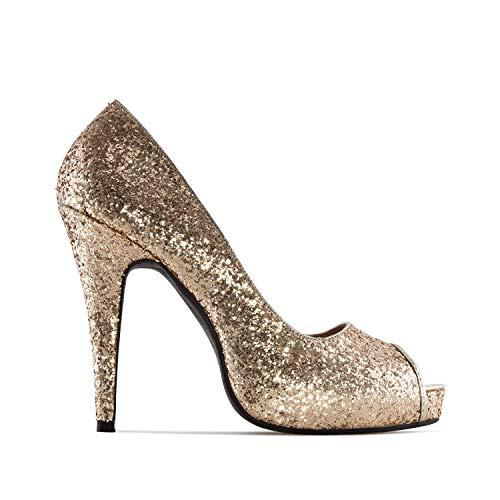 Andres Machado - Elegante Pumps für Damen und Mädchen mit 11,5 cm Absatz und offener Spitze – AM239 –Peeptoe High-Heels – Gold Glitter, EU 34