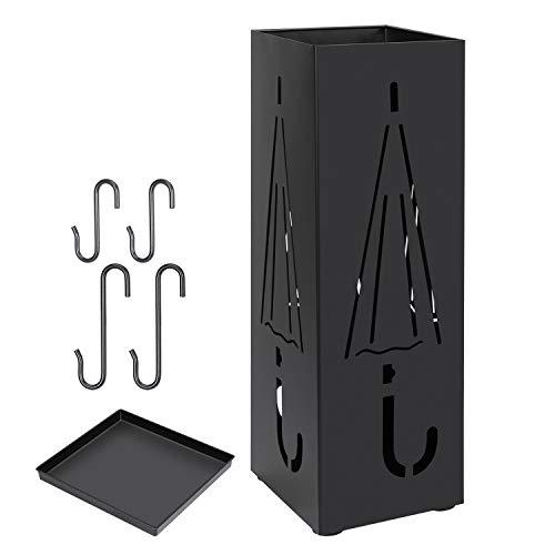 Regenschirmständer, Metall, quadratisch, freistehend, Regenschirmhalter für den Eingangsbereich