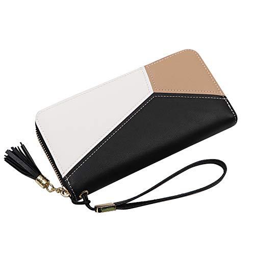 Jeu GeHL lederen kleine portemonnee, lange klap koppelingstas kwastje muntzak handtassen - zwart