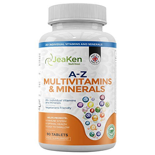 JeaKen - A-Z MULTIVITAMINS and Minerals Tablets - 26 Multi Vitamins for Woman and Multi Vitamins for Men - Multiple Minerals Supplements to Supercharge Your Health - 90 Vegan Multivitamins Tablets