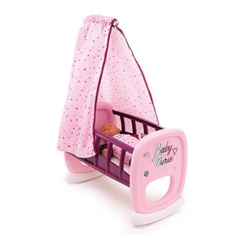 Smoby - Baby Nurse - Bercelonnette - Pour Poupons et Poupées - Lit avec Système de Bascule - Tissu Lavable - 220338