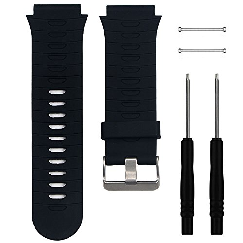 "QGHXO Band for Garmin Forerunner 920XT, Soft Silicone Replacement Watch Band Strap for Garmin Forerunner 920XT GPS Watch, Fits 5.9""-8.26"" Wrist (Black)"