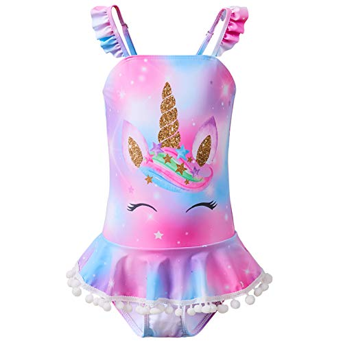 Beinou Girls Swimming Costume One Piece Swimsuit Unicorn Bathing Suit Mermaid Swimwear with Skirt 4-10 Years Purple Blue