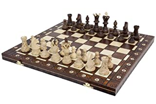 Wegiel Handmade European Ambassador Chess Set - Wooden 21 Inch Beech & Birch Board with Felt Base - Carved Hornbeam & Sycamore Wood Chess Pieces - Compartment Inside The Board to Store Each Piece (B0009WSPRO)   Amazon price tracker / tracking, Amazon price history charts, Amazon price watches, Amazon price drop alerts