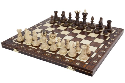 Wegiel Handmade European Ambassador Chess Set - Wooden 21 Inch Beech & Birch Board With...