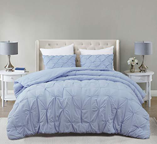 SupraSoft Estellar Comforter Set Pinch Pleat   Light Blue   Full