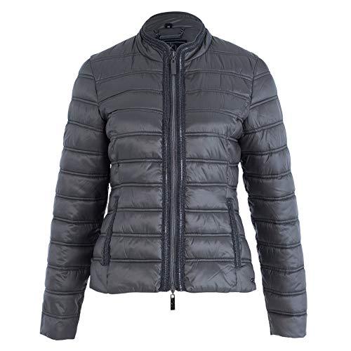 Rino & Pelle Sendi dames gewatteerde jas overgangsjas zwart opstaande kraag getailleerd siernaden