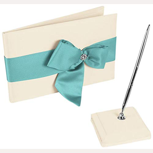 David's Bridal Regal Ties Guest Book and Pen Set Style DB75GBP, Ivory/Spa