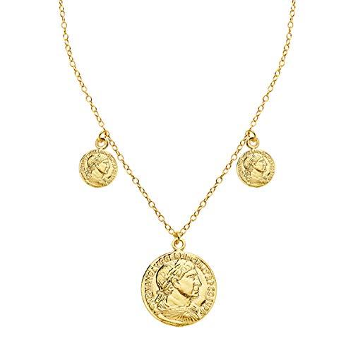 Iyé Biyé Jewels - Collar Mujer niña Monedas Romanas Plata de Ley 925 Bañada Oro Amarillo Cadena Forzada 40+3 cm Cierre Reasa