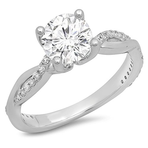 14K White Gold Moissanite & White Diamond Solitaire with Accents Bridal Engagement...