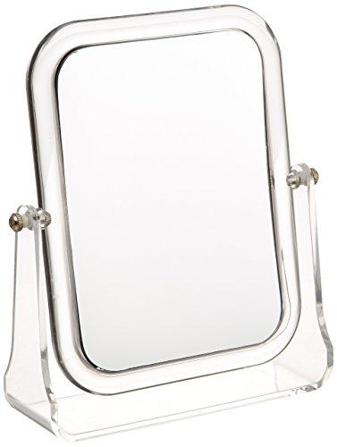 WENKO Kosmetik-Standspiegel Noci rechteckig - klappbar, Spiegelfläche: 12.5 x 17 cm 300 % Vergrößerung, Acryl, 18 x 21 x 5.5 cm, Transparent