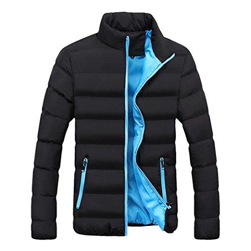 Tefamore Hommes Hiver Chaud Slim Fit Épais Bulle Manteau Casual Veste Parka Survêtement (XXXL, Bleu)