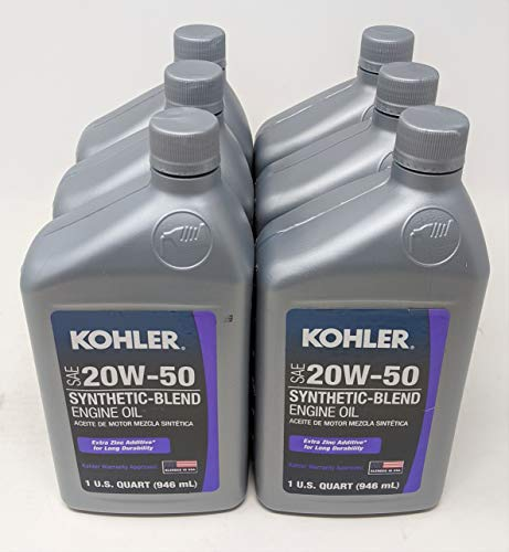 Kohler 25 357 68-S Synthetic Blend SAE 20W50 4-Cycle Engine Oil (6-Quarts)
