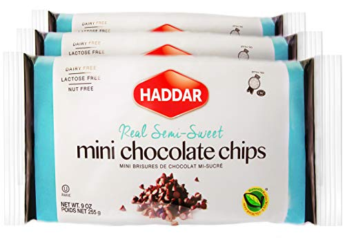 Haddar Vegan Real Semi Sweet 'Mini Dark Chocolate Chips', 9oz (3 Pack) Dairy Free, Lactose Free, Nut Free, Great for Baking