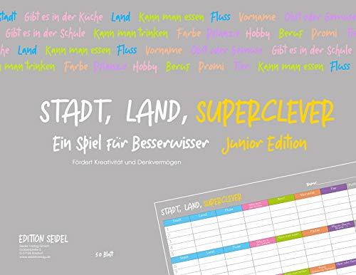Stadt, Land, Superclever (Junior Edition). Stadt, Land, Fluss im neuen Design für Kinder und Jugendliche Block DIN A4, 50 Seiten Weihnachtsgeschenk