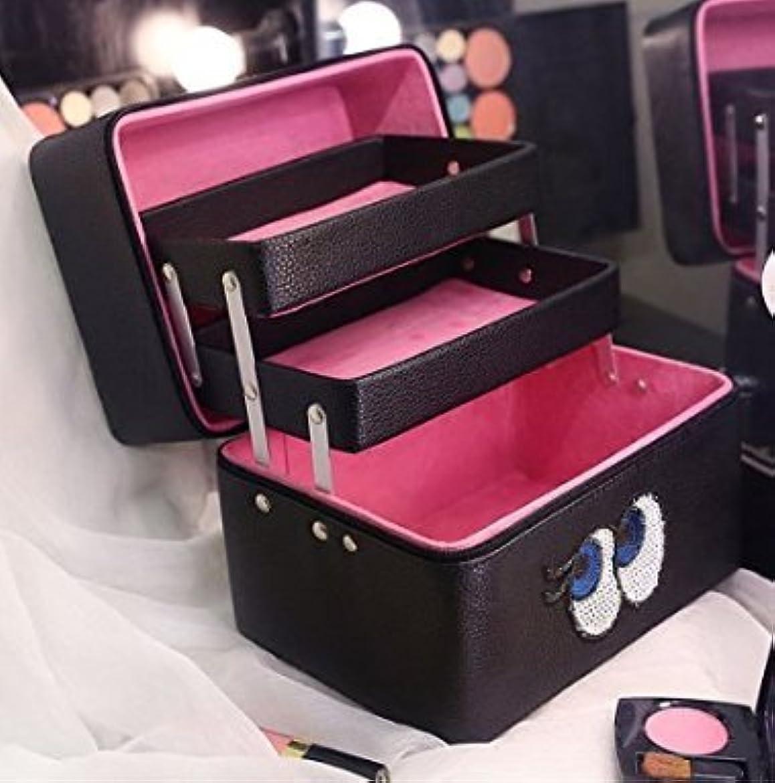 プラカード論争の的建物収納ケース 3層 大容量 コスメボックス ジュエリー ボックス 化粧道具入れ 化粧品収納 メイクボックス 持ち運び 雑貨 小物入れ (ローズ)