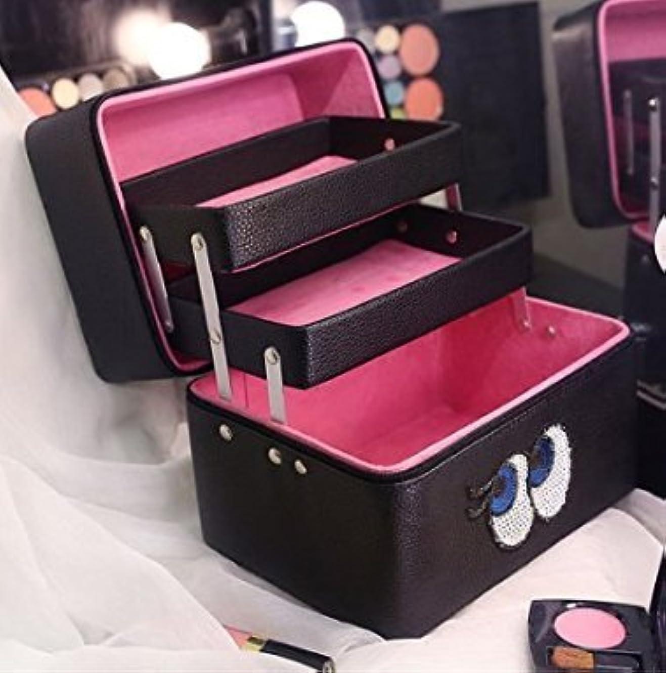 検体熱帯の同行収納ケース 3層 大容量 コスメボックス ジュエリー ボックス 化粧道具入れ 化粧品収納 メイクボックス 持ち運び 雑貨 小物入れ (ブラック)