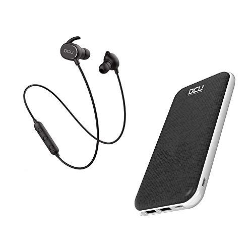 DCU Tecnologic | Auriculares Bluetooth Deporte, cancelación de Ruido y Manos Libres + Cargador portatil 5000mah (Auriculares+PowerBank), batería Externa.